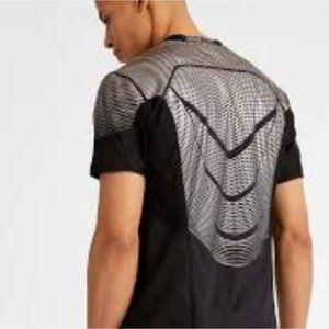 NIKE Pro Dri Fit Fitted Silver Metallic Shirt Mens